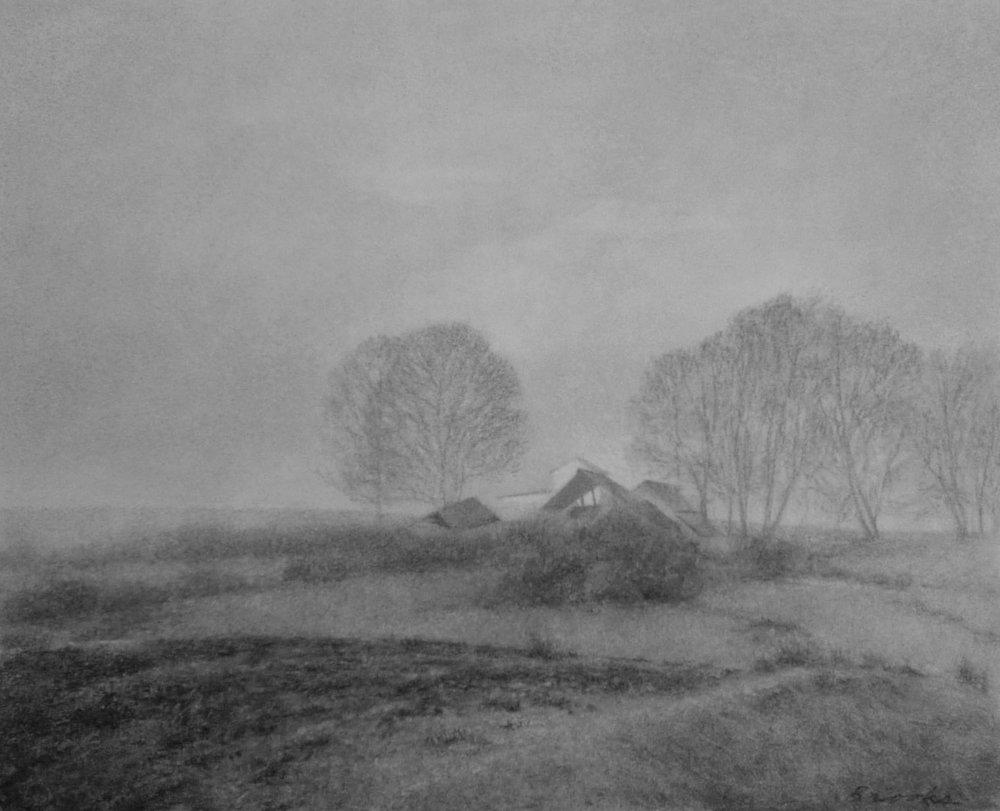 farm, fog