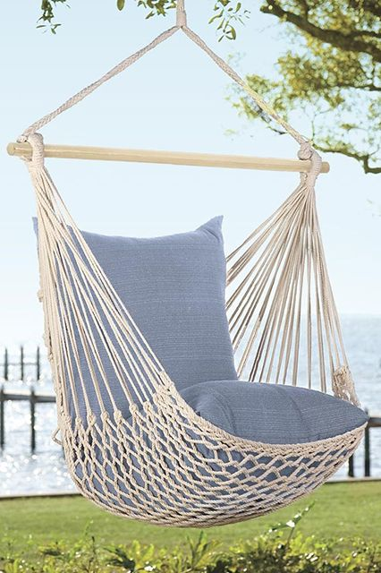 Hammock Swing   Rope Hammock Swing-Our favorite piece of outdoor furniture right now is the rope hammock swing. Hang it in a tree or purchase a stand to place it near the pool, either way you will be perfectly cozy.