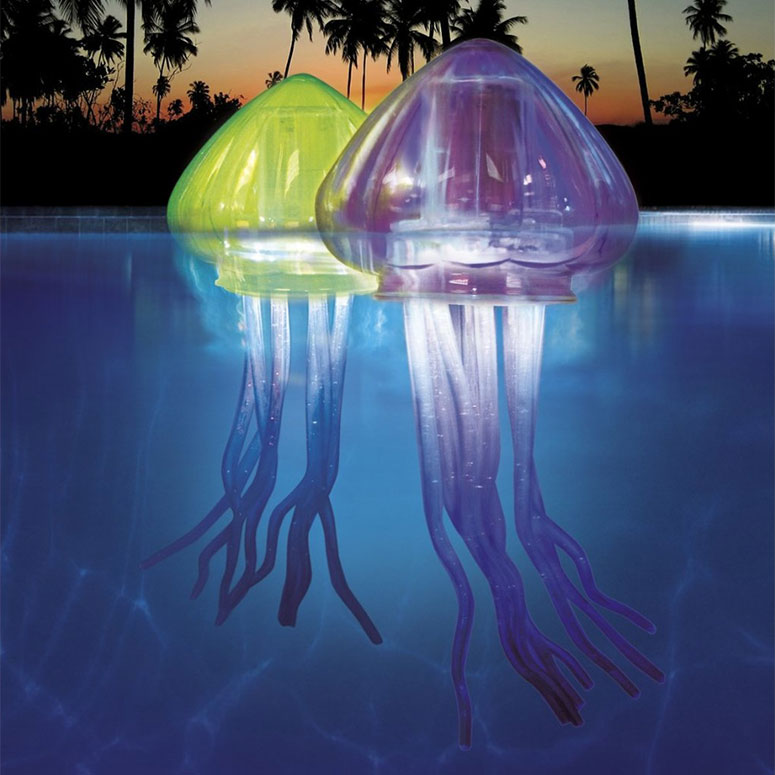 Jellyfish Lights   These unique, floating lights will brighten up your pool in an array of different colors.