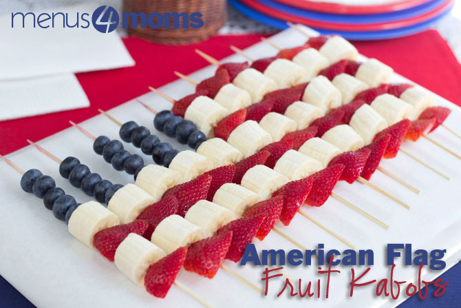 American Flag Fruit Kabobs   Fruit kabobs are a perfect treat for the summer. Create an American Flag kabob out of fruit and you're guaranteed success. Use this recipe to create an easy and fun treat for everyone to enjoy!