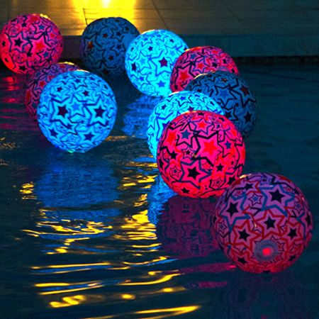 Festive Beach Balls   Brighten up any party with these light-up beach balls. Not only do these beach balls make great decorations, but they're sure to create a good time for everyone attending.