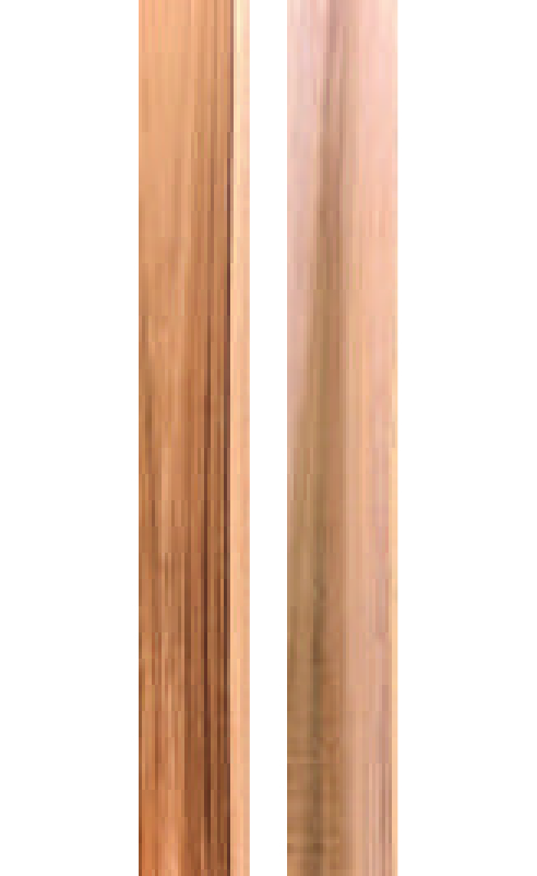 GRADE B:  70% - 99% heartwood best face. Back face allows unlimited sapwood. Live knots allowed both sides. No cracks, pith, decoloration, dead knots, pinholes, or blue stain.