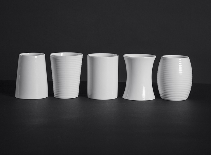 Bone china beakers.