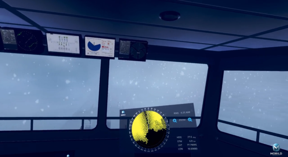 Morild IceNav give a realistic training environment for navigation in polar areas. The instructor of the simulator can change weather conditions which means that the operators have to rely on the ice radar.   Watch video from VR training simulator
