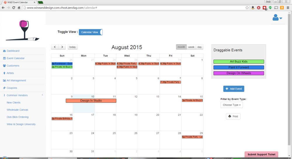 August 10th is highlighted blue to alert us that the new event will be added to that date.