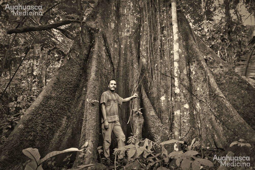 Con la Maestra Lupuna. Selva del Amazonias Peruana.