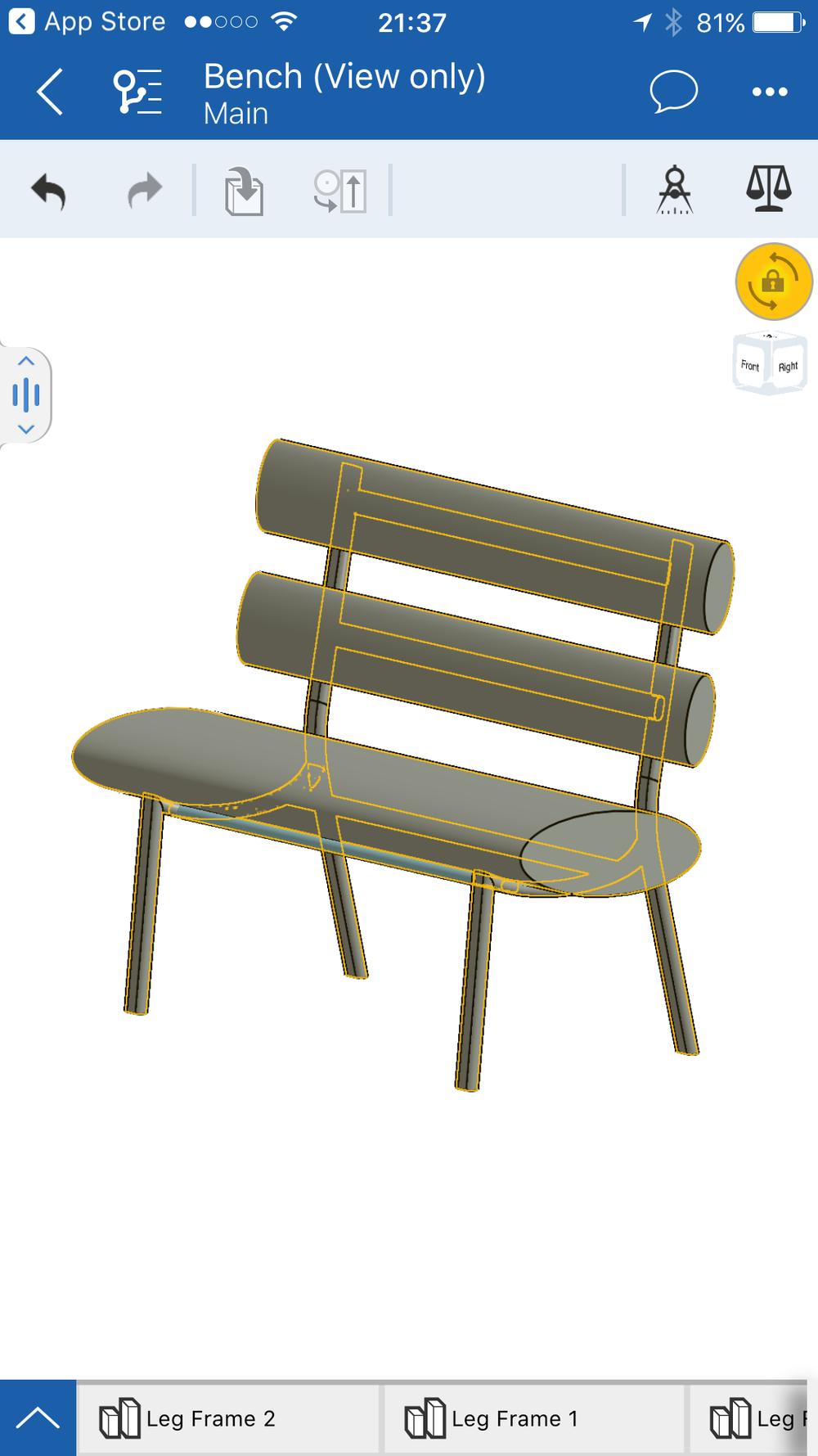 3D Cad model of metal frame and upholstered bench.