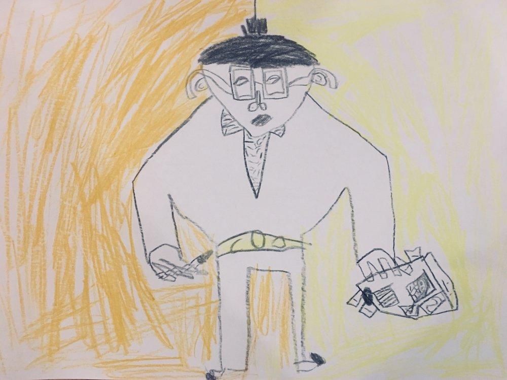 Tom's portrait of me whilst designing