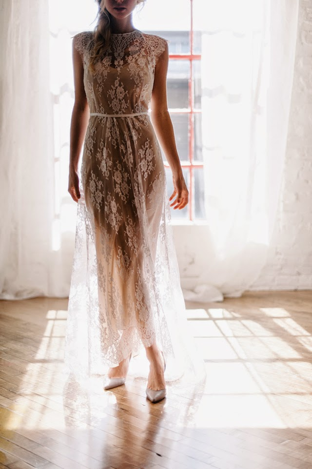 nude silk and ivory lace boho wedding dress
