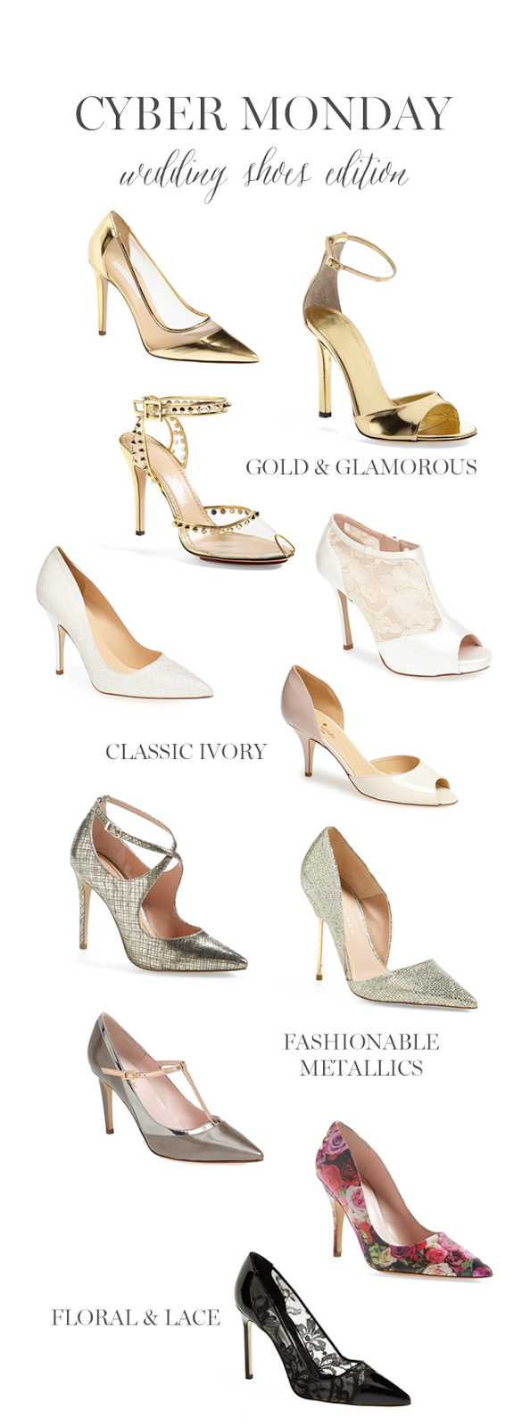 Gold, Metallic, Ivory, Lace, and Floral wedding high heels for your bridal shoes!
