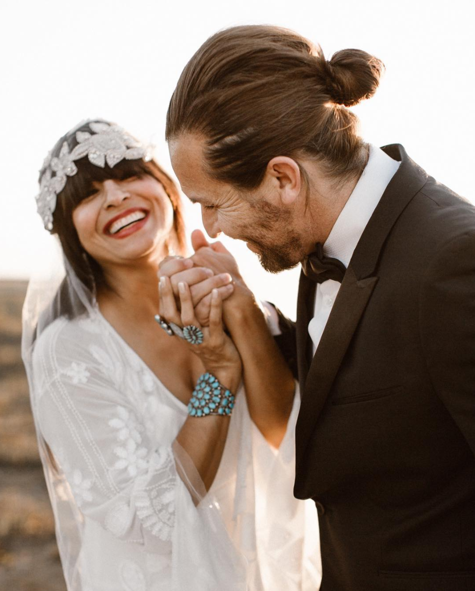 "RDS gown + Hand Meets Sky Jewelry - Photo by Brogen Jessup ""Novia by Hand Meets Sky - A capsule collection of hand picked vintage, one of a kind pieces of Turquoise and heirloom jewelry specific for the chic, modern, boehme bride."""
