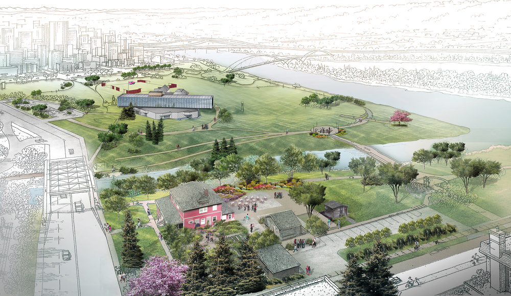Artist's rendering of master plan development for Fort Calgary