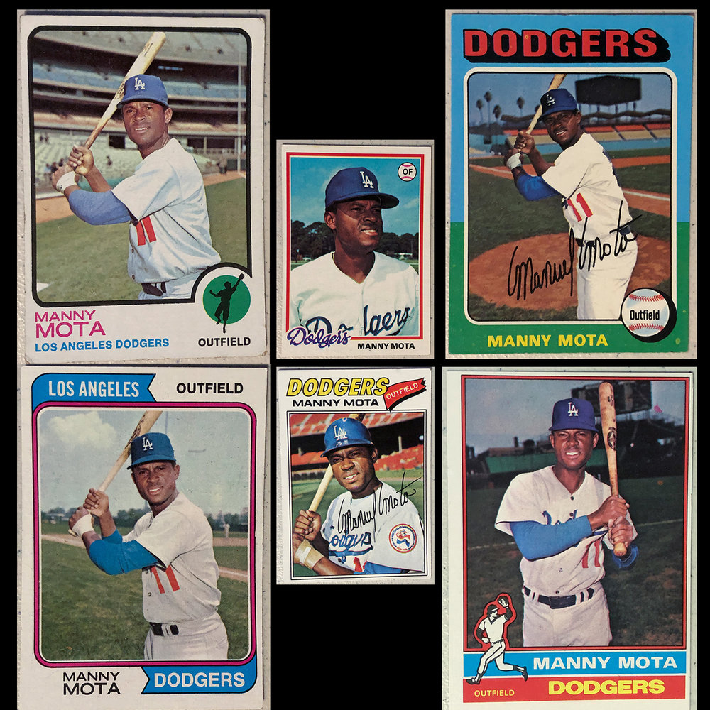 Six examples of boring Manny Mota cards  I loved Manny, class act, and great pinch hitter.  With these I always looked for the details.  These photos were taken at Shea Stadium, Vero Beach, Candlestick, Dodger Stadium, and Wrigley Field.  I guess its another example of who I am, looking for the details in the photographs and being a detective to figure out facts.