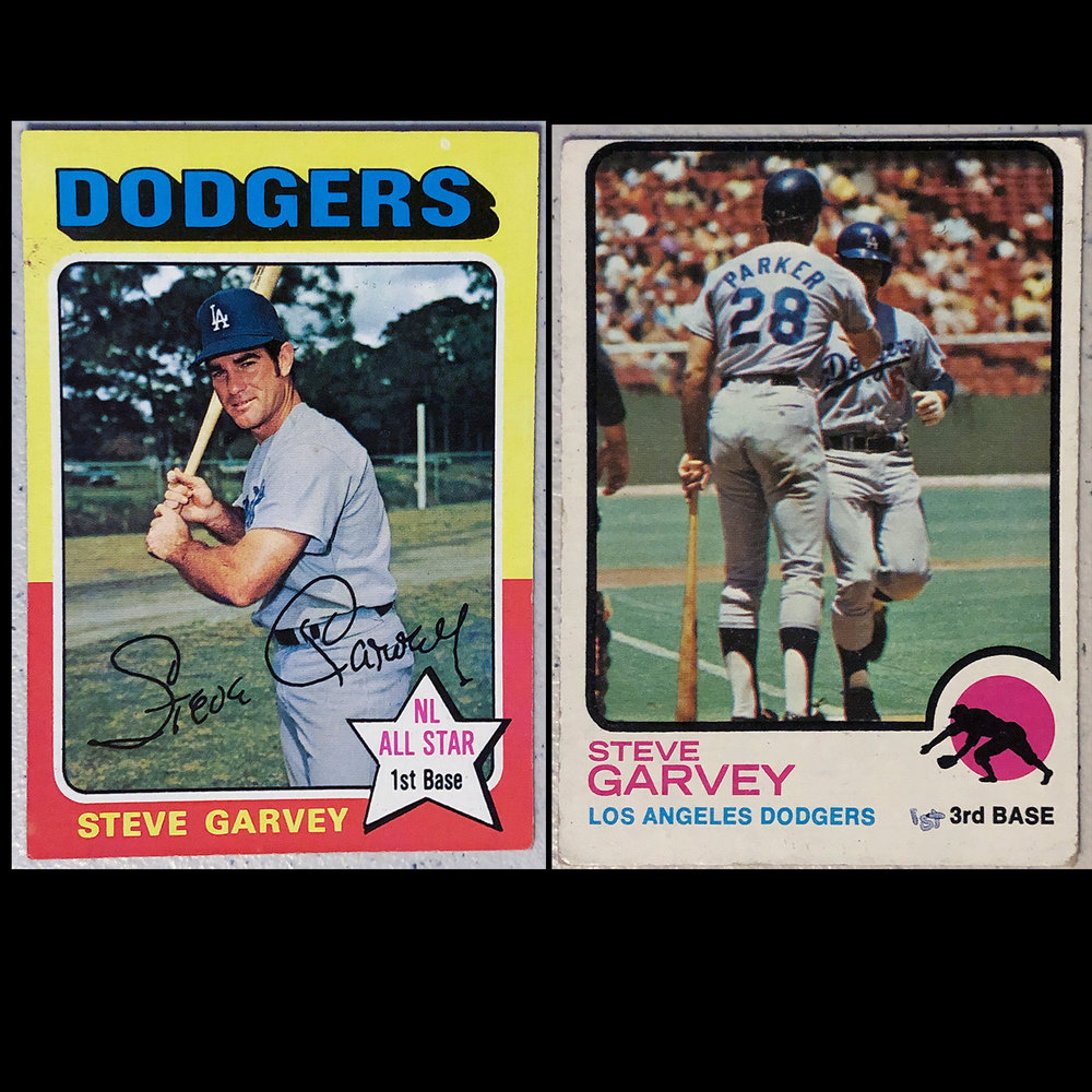 Steve Garvey was my idol as a kid, like most kids my age in Los Angeles.  Later on we learned about his penchant for the ladies but he treated fans great and was a solid ballplayer.  Classic pose on left card and I remember how pissed I was with the card on the right because you could hardly see him behind Wes Parker.  I assume Parker is congratulating Garvey after a home run in Candlestick so I should be happy with that but it just highlights how weak the photographs were with cards back in the day.