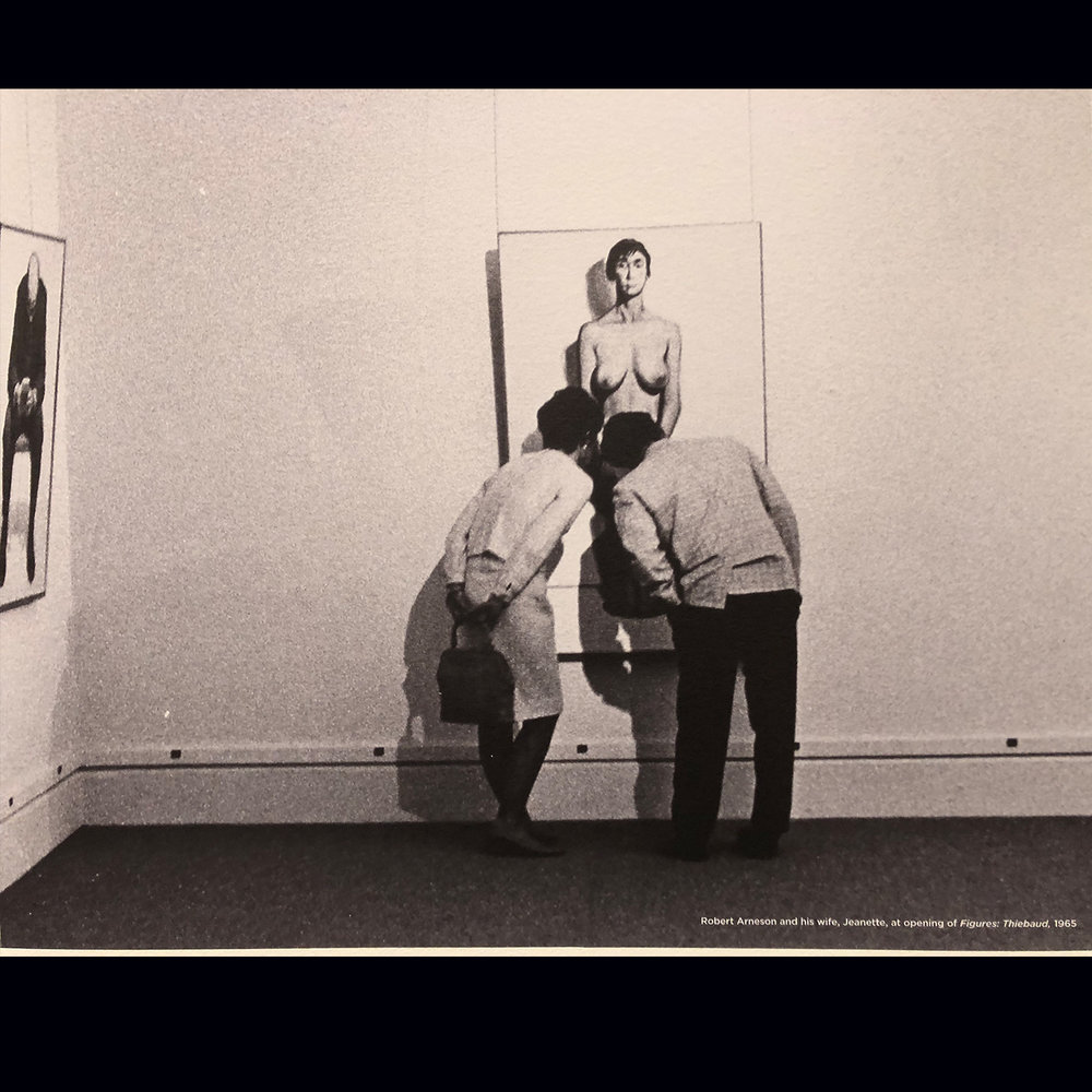 Robert and Jeanette Arneson inspecting Thiebaud painting at Stanford Art Museum 1965  Photo by: Leo Holub