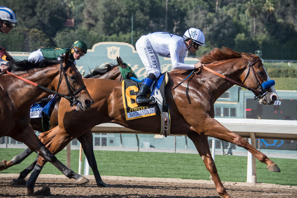 "2018 Triple Crown Winner ""Justify"" , with Mike Smith up, wins the 2018 Santa Anita Derby"