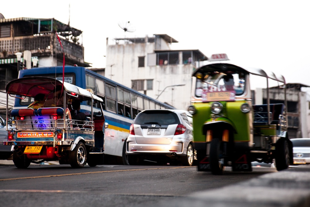 Tuk Tuks in Bangkok, a cheap easy way to get around.