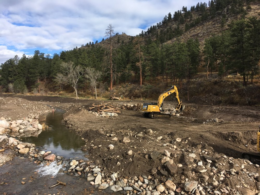 Sediment removal, realignment, and bank stabilization construction in April of 2017.