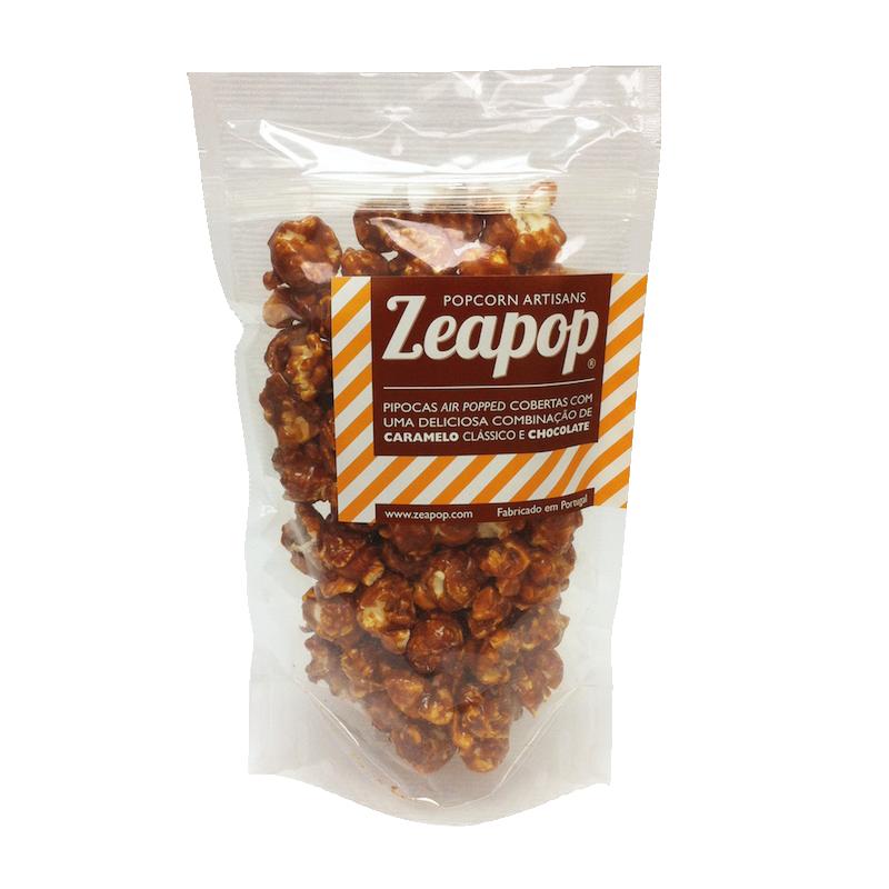 CHOCOLATE Pipocas Air Popped cobertascom uma deliciosa combinação de Caramelo Clássico e Chocolate.