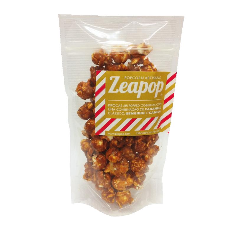 GENGIBRE E CANELA Pipocas Air Popped cobertas com uma combinação de Caramelo Clássico, Gengibre e Canela.