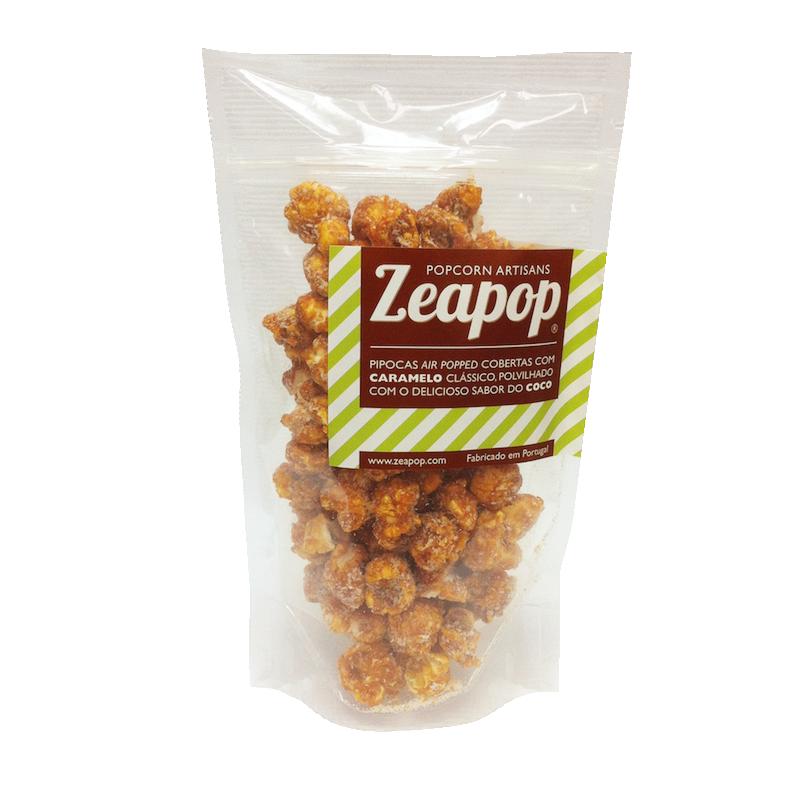 COCO Pipocas Air Popped cobertas Caramelo Clássico, polvilhado com o delicioso sabor do Coco.