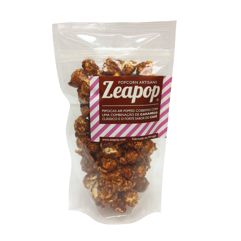CAFÉ Pipocas Air Popped cobertas com uma combinação de Caramelo Clássico e o forte sabor do Café.