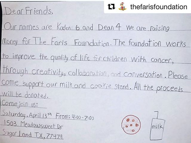 Hey guys! If you are in the Sugar Land area this weekend, stop by this sweet little cookie stand to support a good cause @afshanvellani @thefarisfoundation  #Repost @thefarisfoundation ・・・ How amazing is this: the very first community-initiated event in support of our work is being led by two brothers, ages 4 and 6! Stop by their Milk & Cookies stand on Saturday April 13 for a sweet treat - all proceeds will help improve the lives of children with cancer. Kids supporting kids, young people leading the way ❤️ this is the meaning of #GlowWithUs ✨