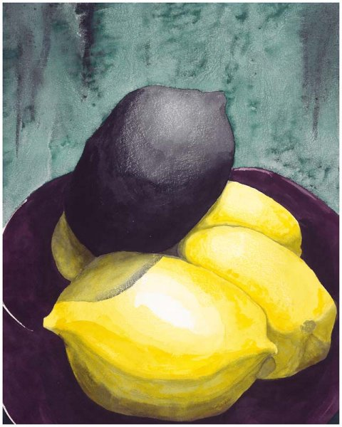 "BLACK LEMON  22"" by 30"" WATERCOLOR"