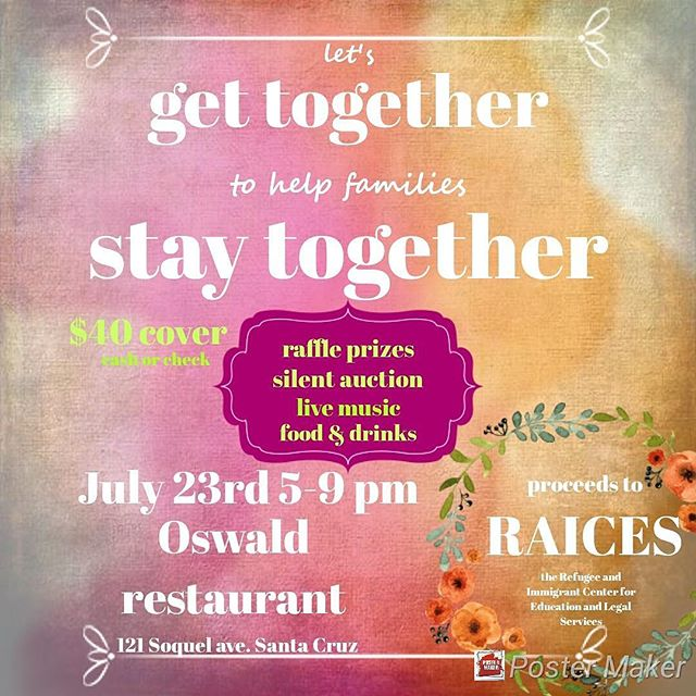Come join us Monday July 23rd to support RAICES (Refugee and Immigrant Center for Education and Legal Services.)They provide free and low cost legal support to immigrant and refugee children and their families. For $40 you will enjoy food, drink, raffle, live music & karoke.  Music starts at 5pm with Brian Gibeault, followed by Dan Kocher and Patrick Maguire. Hod and the Helpers start at 8pm and we finish off the night with karoke. #hodandthehelpers #maguiremusic @briguy3 #oswaldrestaurant Sweet raffle prizes donated by these sweeties: #botanicandluxe #cameronmarks @hollyhentonhere #blackbirddagger #sannyceramics  #kelcipotter  #industryhairstudio #wellspringnaturalhealth @drheather_nd @janetsilverglate  #pleasurepointpilates Brie Soquel of Beauty Bar and many more!
