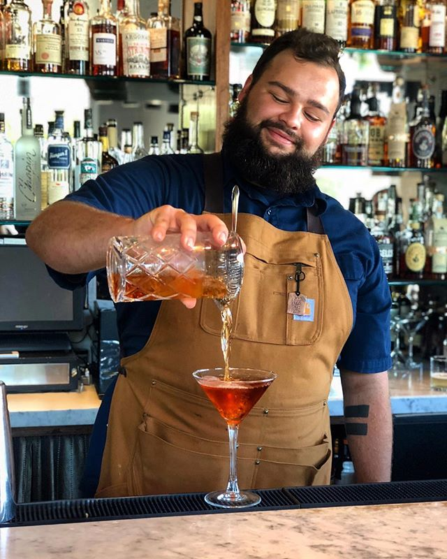It's Saturday, so here's a picture of @chriss_pagee pouring an infamous Oswald Negroni #cheers