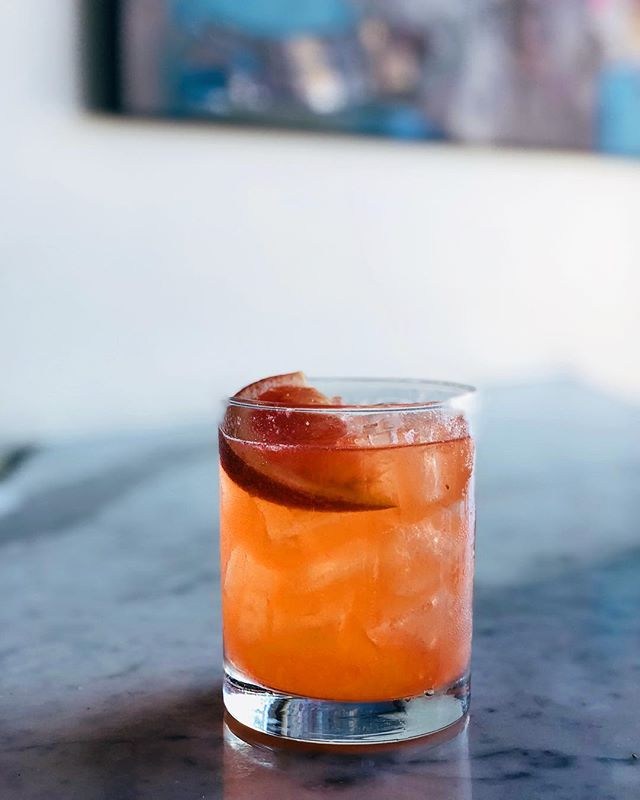 Introducing the Rose glow:  Fresh Grapefruit, fresh ginger, gin, Aperol, and Lemon 🥃 #oswald