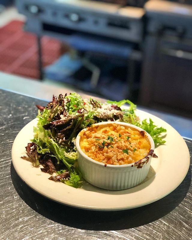 Macaroni and Cheese with Ozzie Salad.  Bar menu only #Oswald