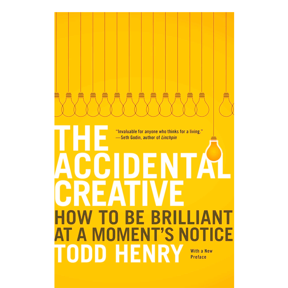 "The Accidental Creative  Todd Henry  Whether you consider yourself a ""creative"" or not, Henry helps you orient and plan to get the most creativity output. Not everyone can be creative-on-demand, but we can make investments that can pay off later in our lives and careers."