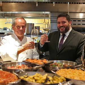 wolfgang puck & PIPER-HEIDSIECK Director Benoit Collard at spago