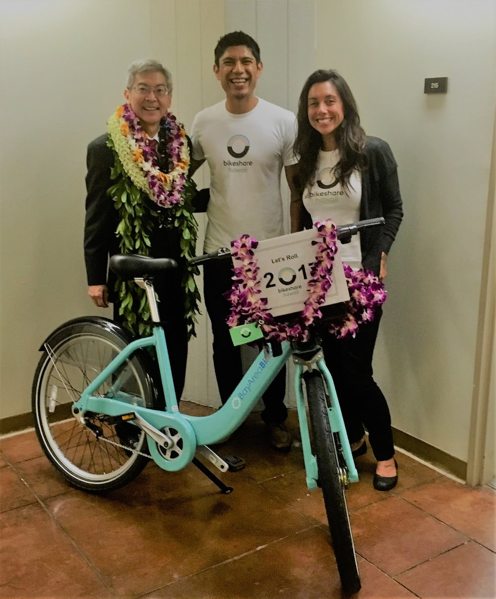 Senator Breene Harimoto of District 16 (longtime supporter of alternative transportation and bikeshare) with Bikeshare Hawaii's Ben Trevino and Justine Espiritu.