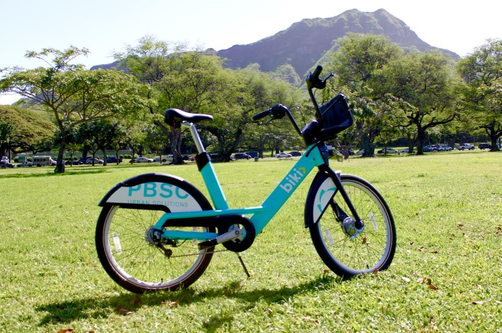 The Biki bike is equipped with 3-speeds, adjustable seat heights, a step-through frame for easy access, front and back lights and reflectors to increase visibility, specially designed wheel covers and chain guards to keep your clothes clean, and a basket with bungee to carry personal items of different shapes and sizes. It's sturdy and dependable, and locks securely into any Biki stop.