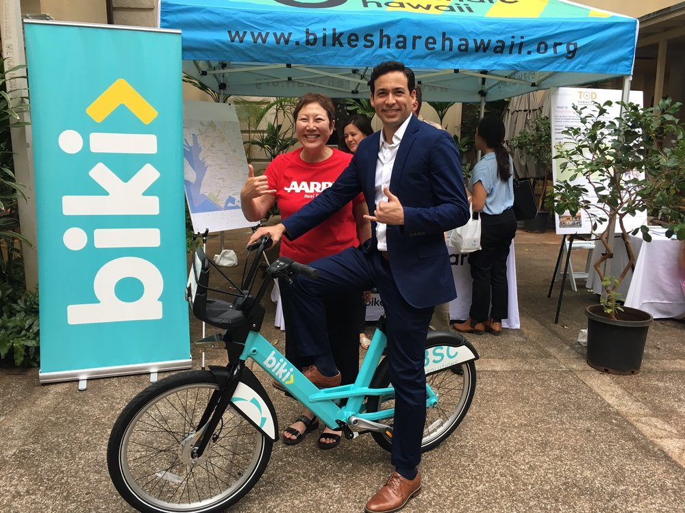 Thanks to all who came to the City and County of Honolulu's Complete Streets Symposium on March 15. Here are Representative Chris Lee of House District 51 and Barbara Stanton, AARP Hawaii State Director, checking out our new Biki bike!