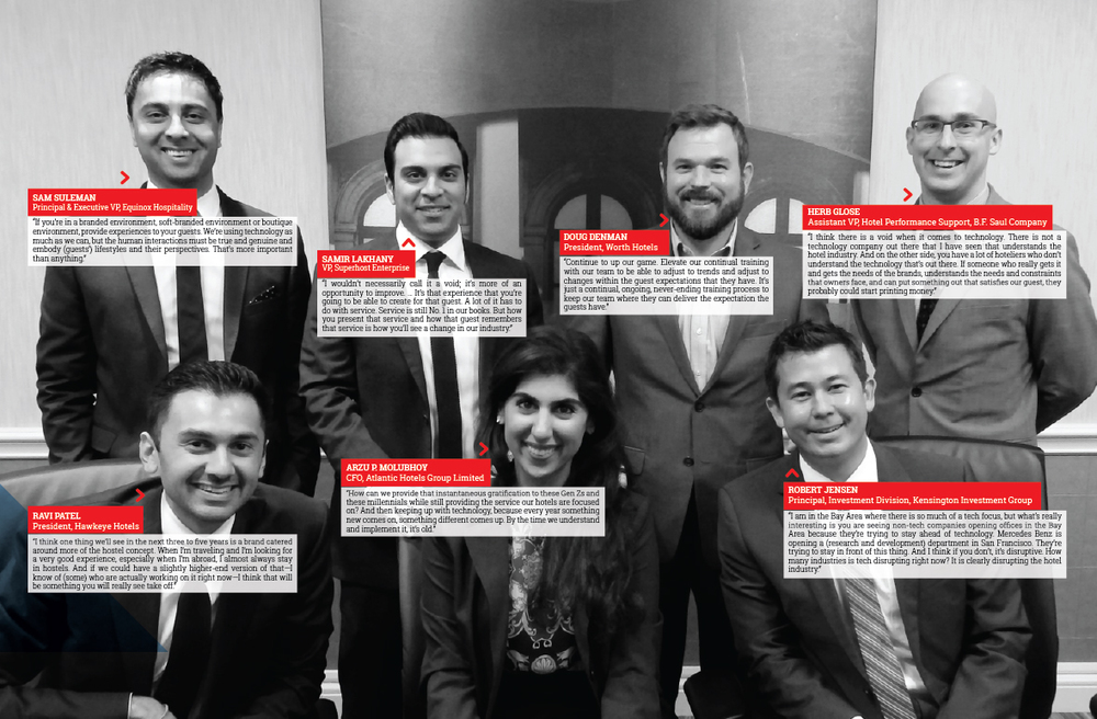 7 young hotel leaders, 1 female, 6 male