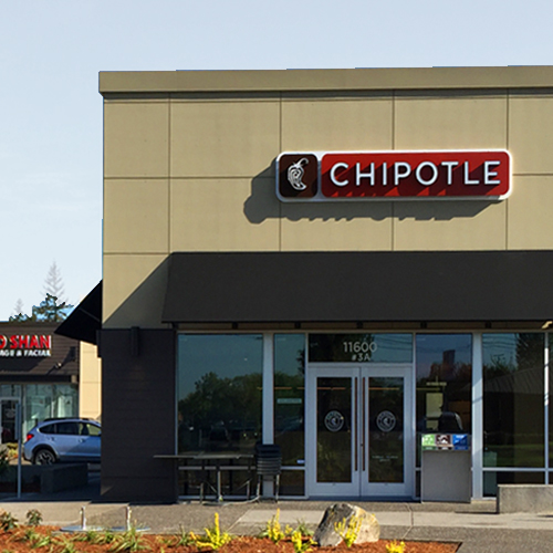 Chipotle restaurant store front