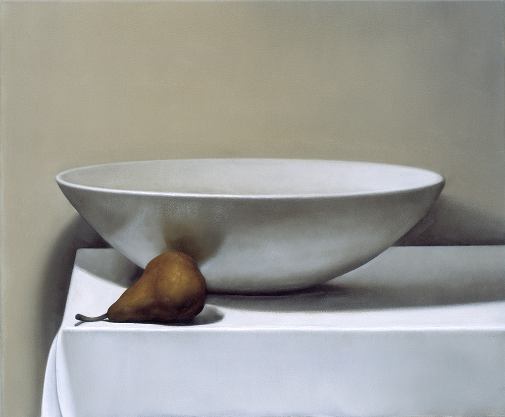 bowl and pear  2000  oil on canvas  45 x 52 cm