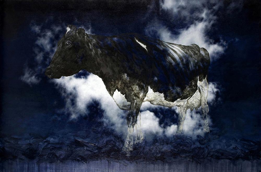 bovine dreaming  2012   oil on canvas   122 x 185 cm