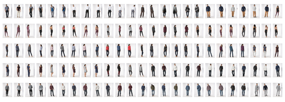 62 Looks shot front and back, styled each time. The minimum for one 'WEB' Day.