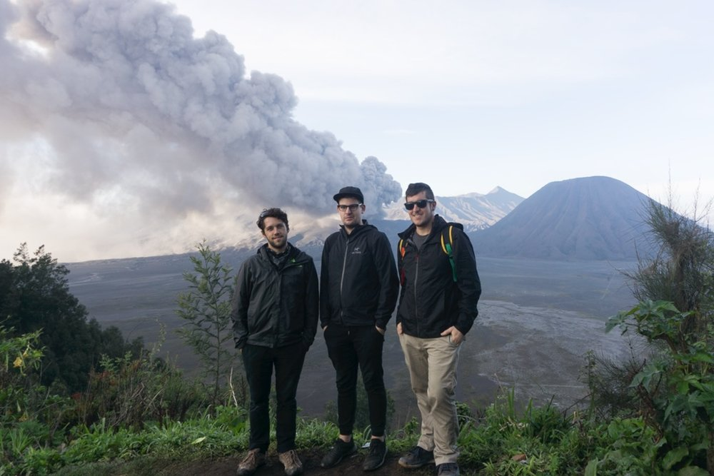Me and some pals in front of an active volcano.