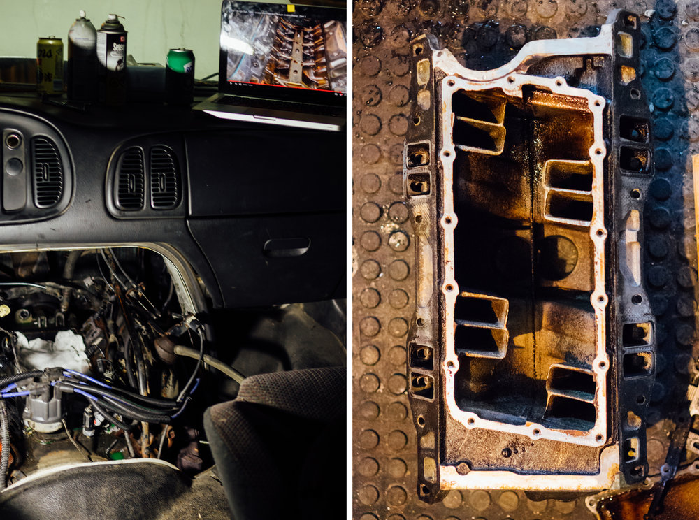 Left: Watching youtube videos about opening my engine. Right: The top half of my engine taken out.
