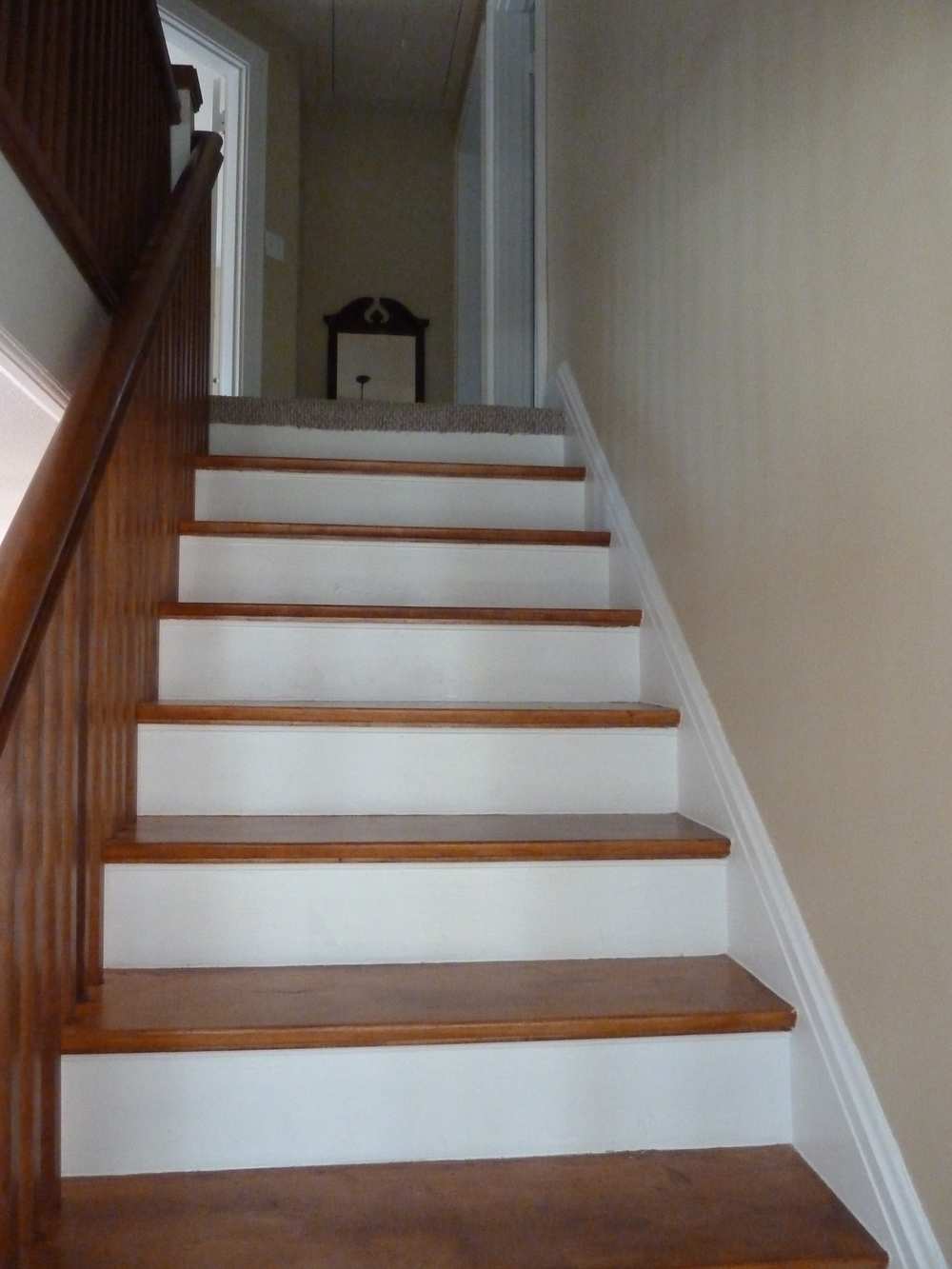 Wood stair case after