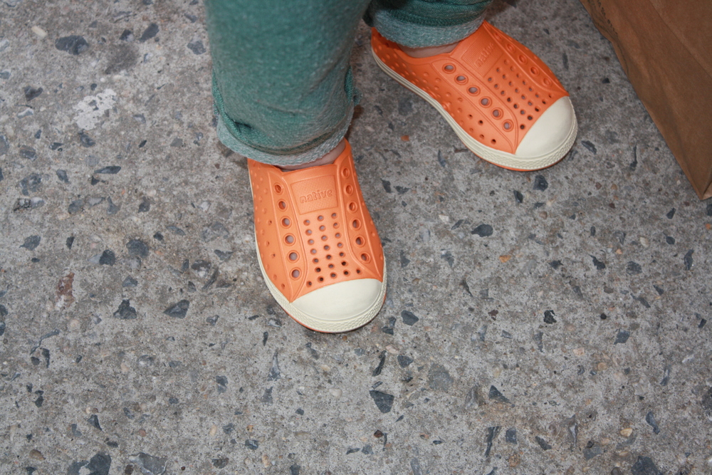 native orange toddler slip ons