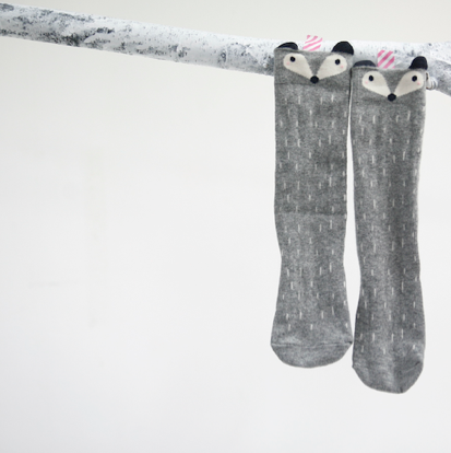 mini socks racoon knee highs
