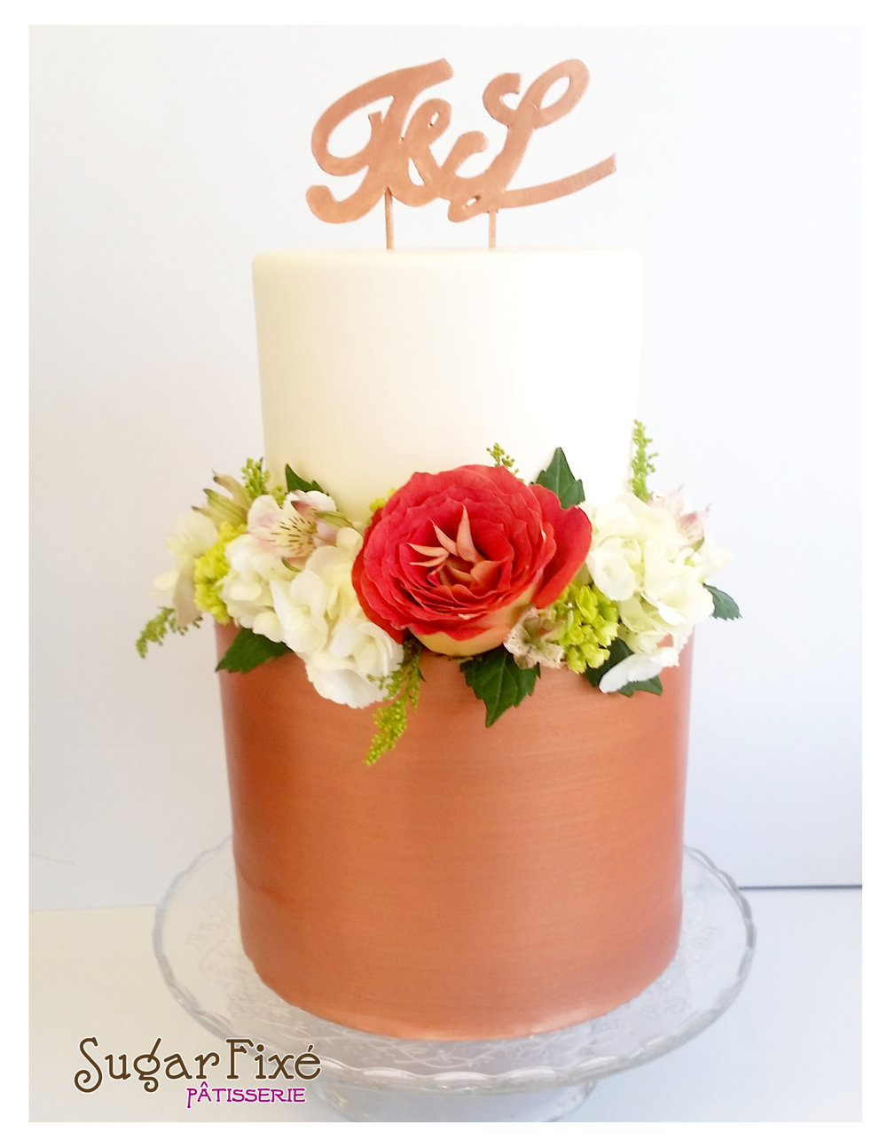 2 tier rose gold fondant topper fresh florals.jpg