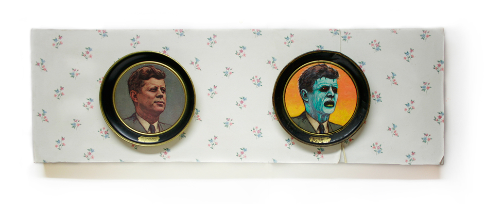 Two vintage JFK plates, acrylic paint, wallpaper on gallery canvas.