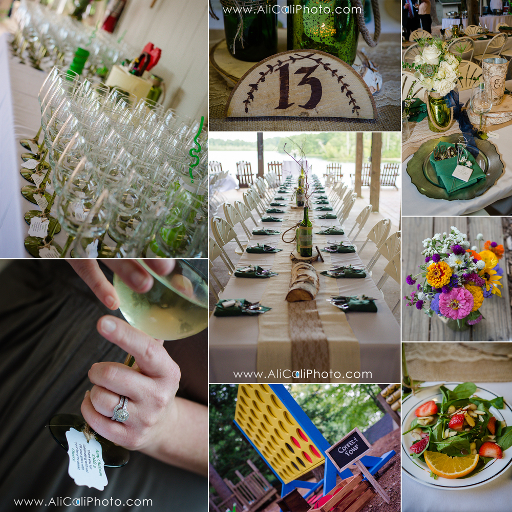 How amazing were their details?! Life-size Connect Four, Jenga & other fun games, their table numbers, and their awesome name cards attached to a wine glass for each of their guests! (Props to Laurie from  Everyday Details  on the name cards and the giant games!)